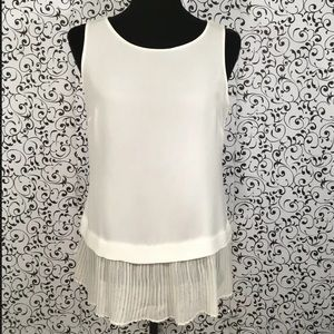 Ann Taylor Off White Blouse with Pleated Trim